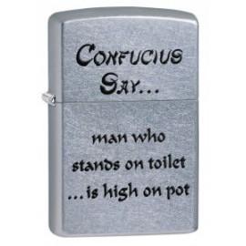 Зажигалка Zippo Classics Confucius Say Toilet Pot Street Chrome Zp28459