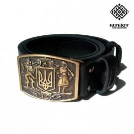 Ремень Patriot Collection мужской черн. c пряжкой Герб Pc001