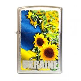 Зажигалка Zippo Classics Ukraine Sunflower Field Satin Chrome Zp205usf