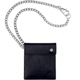 Пепельница ST Dupont DIAMOND карман. в коже на цепочке 29см черн Du83109