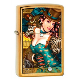 Зажигалка Zippo Classics Industrial Machinery Lady Brushed Brass Zp28321