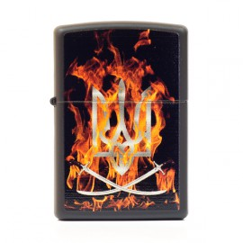 Зажигалка Zippo Classics Ukraine Coat Of Arms On Fire Black Matte Zp218coa